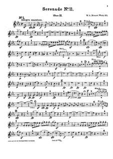 Серенада для духовых инструментов No.11 ми-бемоль мажор, K.375: Партия II гобоя by Вольфганг Амадей Моцарт