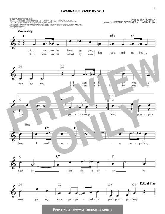 I Wanna Be Loved By You (Marilyn Monroe): Мелодия by Harry Ruby, Herbert Stothart