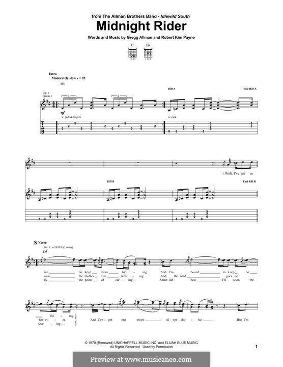 Midnight Rider (The Allman Brothers Band): Для гитары by Gregg Allman, Robert Kim Payne