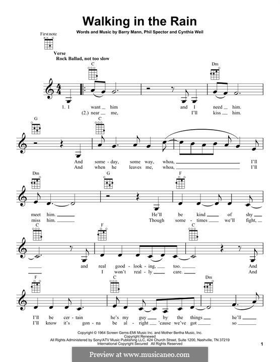 Walking in the Rain (Carole King): Для укулеле by Barry Mann, Cynthia Weil, Phil Spector