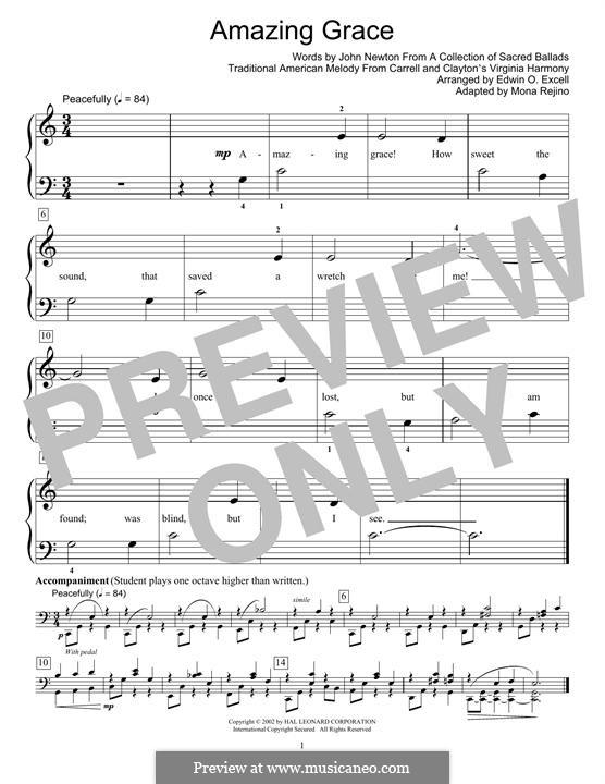 Amazing Grace, for Piano: Для одного исполнителя by folklore