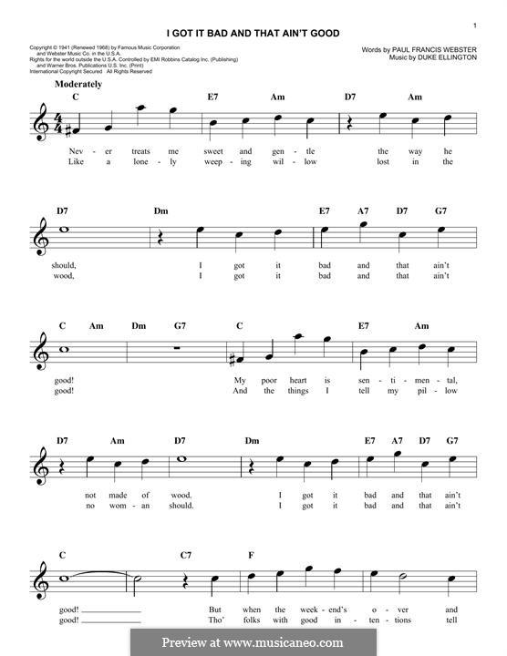 I Got It Bad and That Ain't Good: Мелодия by Duke Ellington
