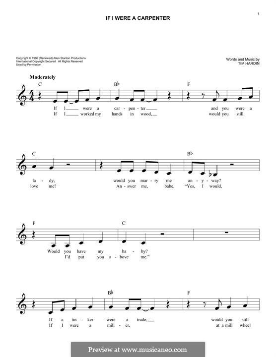 If I Were a Carpenter: Мелодия by Tim Hardin