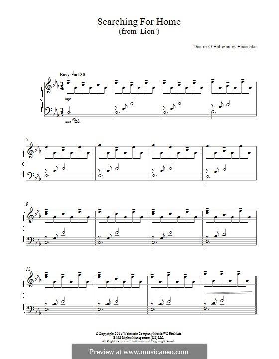 Searching for Home (from 'Lion'): Для фортепиано by Dustin O'Halloran, Volker Bertelmann