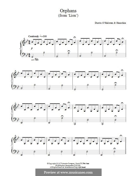 Orphans (from 'Lion'): Для фортепиано by Dustin O'Halloran, Volker Bertelmann