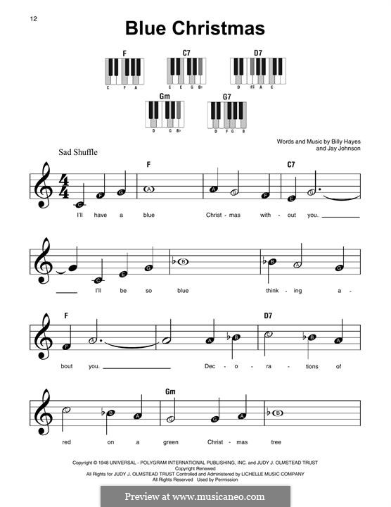 Blue Christmas, for Piano: Easy version by Billy Hayes, Jay Johnson