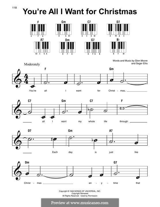 You're All I Want for Christmas (Brook Benton): Для фортепиано (легкий уровень) by Glen Moore, Seger Ellis