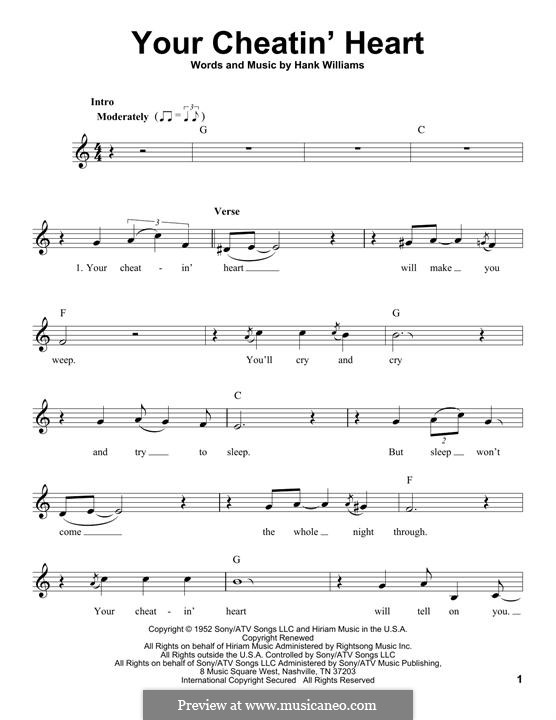Your Cheatin' Heart: Мелодия by Hank Williams
