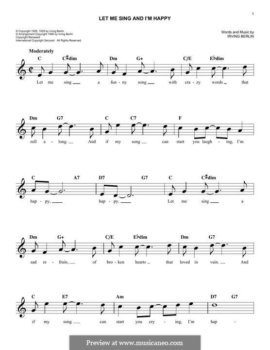 Let Me Sing and I'm Happy (Al Jolson): Мелодия by Ирвинг Берлин