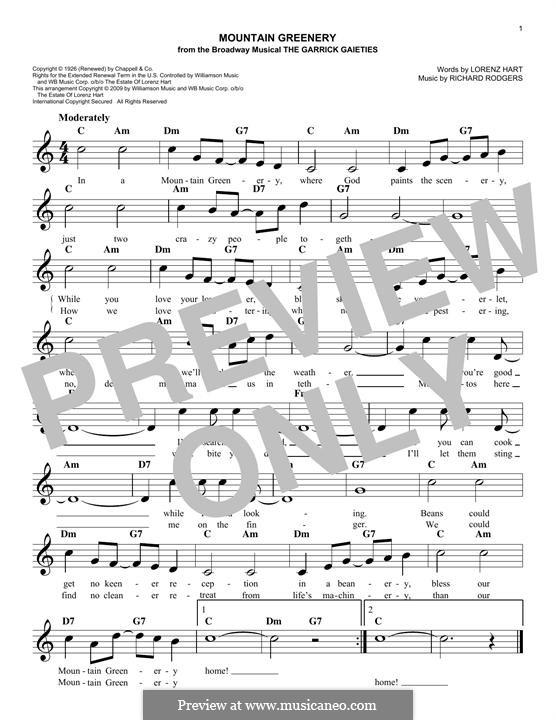 Mountain Greenery: Мелодия by Richard Rodgers