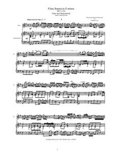 Соната для флейты и бассо континуо No.2 ми минор, BWV 1034: Партитура, сольная партия by Иоганн Себастьян Бах