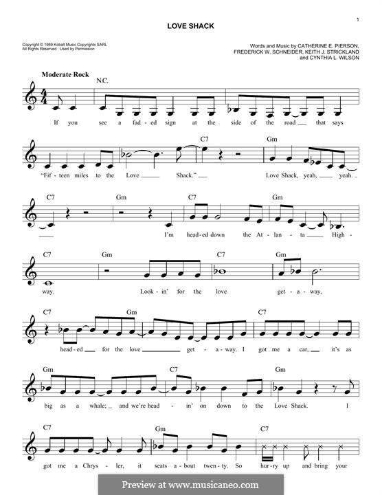 Love Shack (The B-52's): Мелодия by Cynthia L. Wilson, Frederick W. Schneider, Kate Pierson, Keith J. Strickland