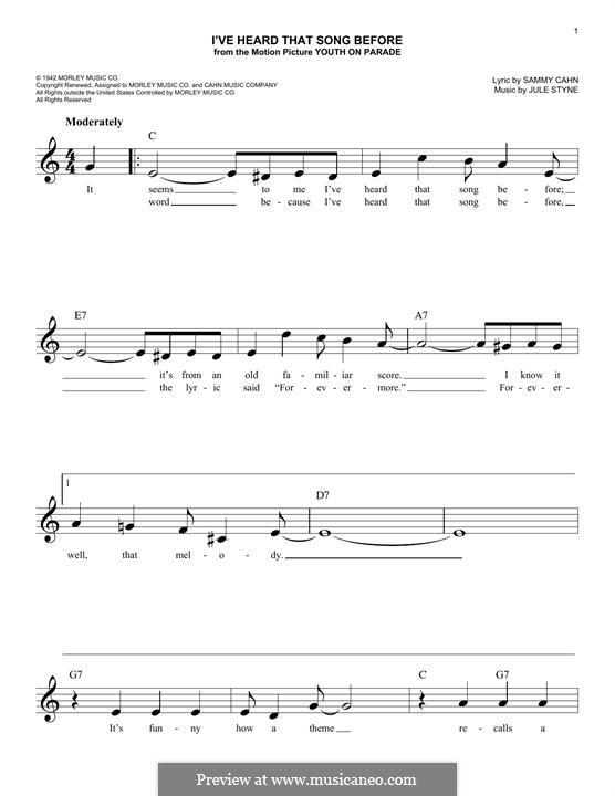 I've Heard That Song Before (Harry James): Мелодия by Jule Styne
