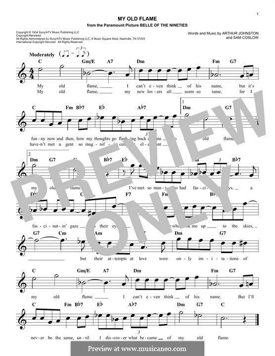 My Old Flame: Мелодия by Sam Coslow, Arthur Johnston