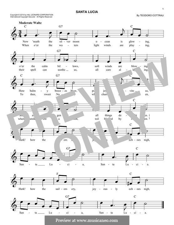 Santa Lucia: Мелодия by Teodoro Cottrau
