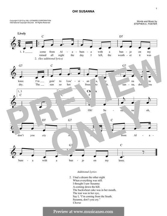 О, Сюзанна: Мелодия by Стефен Фостер