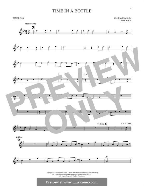 Time in a Bottle: Для тенорового саксофона by Jim Croce