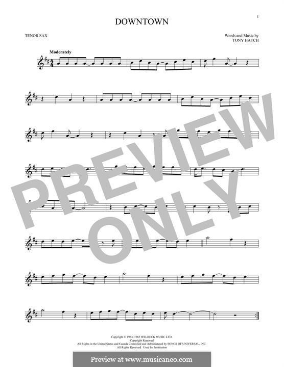 Downtown (Petula Clark): Для тенорового саксофона by Tony Hatch