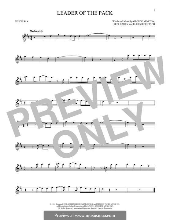 Leader of the Pack (The Shangri-Las): Для тенорового саксофона by Ellie Greenwich, George Morton, Jeff Barry