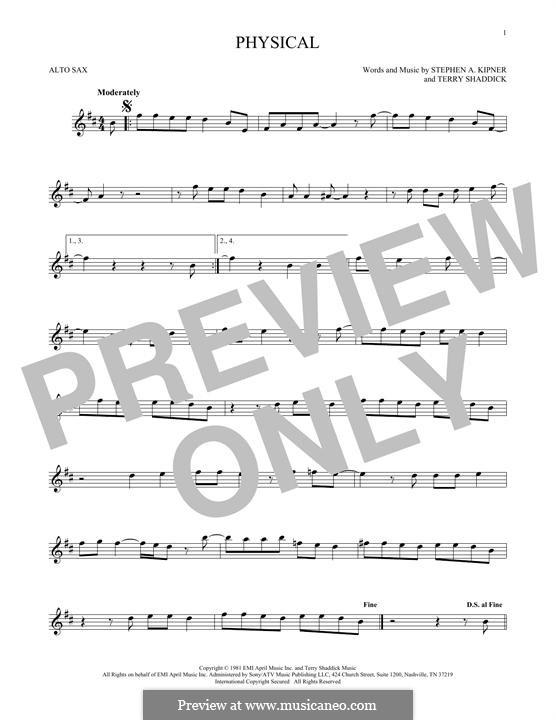 Physical (Olivia Newton-John): Для альтового саксофона by Stephen Alan Kipner, Terry Shaddick