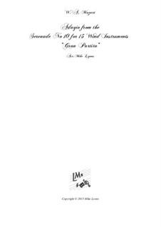 Серенада для духовых инструментов No.10 си-бемоль мажор, K.361: For 13 Instruments by Вольфганг Амадей Моцарт