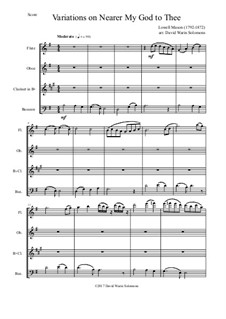 Ближе, Господь, к Тебе: Variations, for wind quartet by Lowell Mason