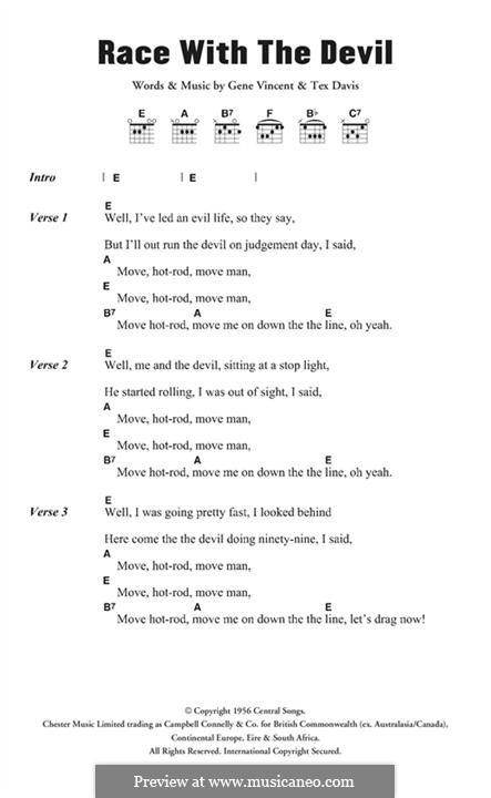 Race with the Devil: Мелодия by Gene Vincent, Sheriff Tex Davis