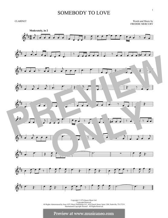 Somebody to Love (Queen): Для кларнета by Freddie Mercury