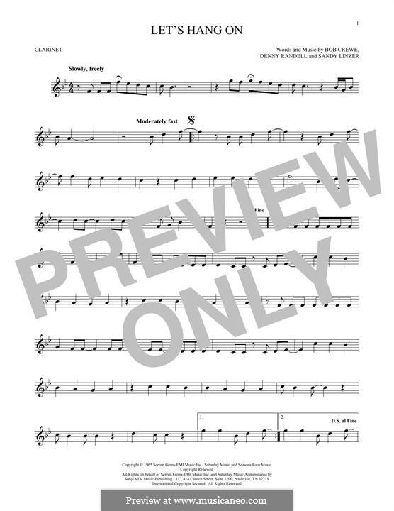 Let's Hang On: Для кларнета by Bob Crewe, Denny Randell, Sandy Linzer
