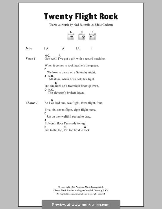 Twenty Flight Rock: Текст, аккорды by Eddie Cochran, Ned Fairchild