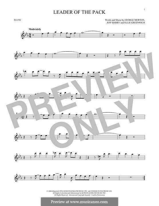 Leader of the Pack (The Shangri-Las): Для флейты by Ellie Greenwich, George Morton, Jeff Barry