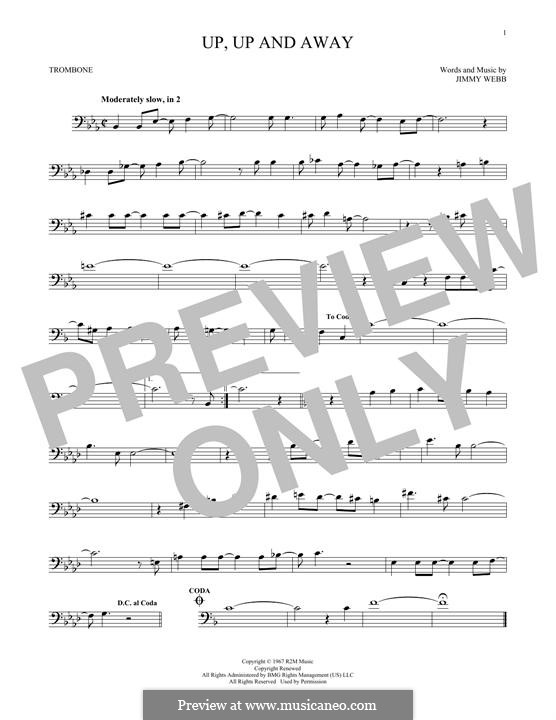 Up, Up and Away (The Fifth Dimension): For trombone by Jimmy Webb
