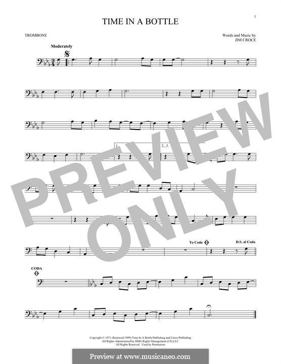 Time in a Bottle: For trombone by Jim Croce