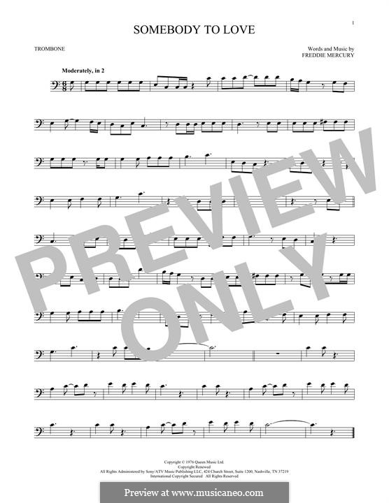 Somebody to Love (Queen): For trombone by Freddie Mercury