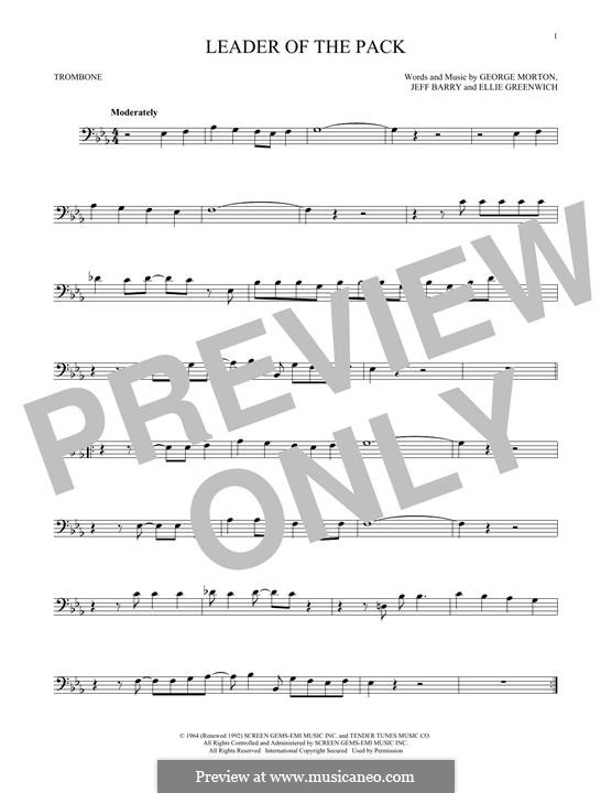 Leader of the Pack (The Shangri-Las): For trombone by Ellie Greenwich, George Morton, Jeff Barry