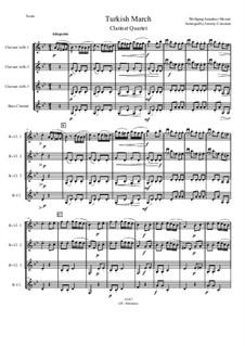 Турецкое рондо: For clarinet quartet by Вольфганг Амадей Моцарт
