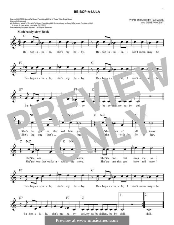 Be-Bop-A-Lula: Мелодия by Gene Vincent, Sheriff Tex Davis