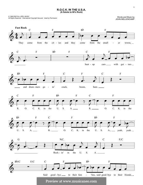 R.O.C.K. in the U.S.A. (A Salute to 60's Rock): Мелодия by John Mellencamp