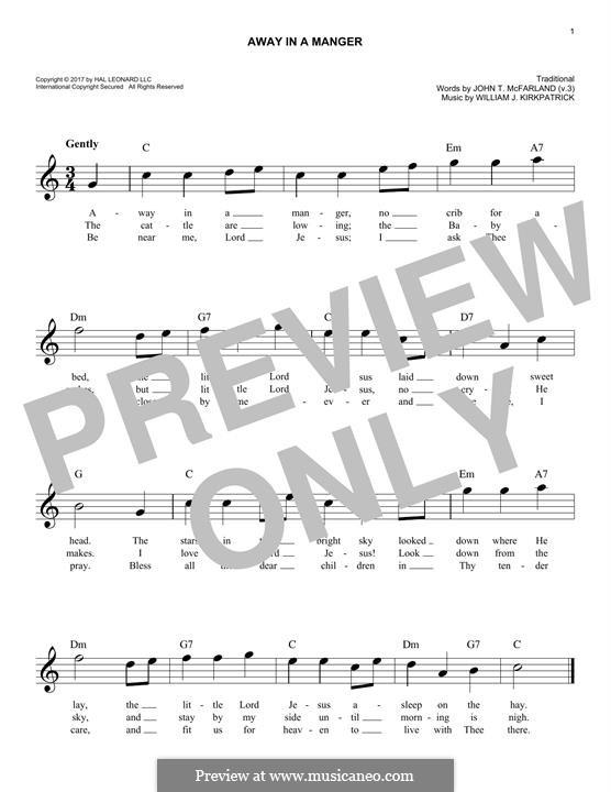 Away in a Manger: Мелодия by Уильям (Джеймс) Киркпатрик