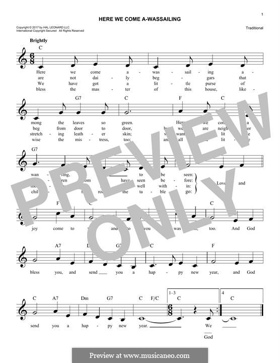 Here we Come a-Wassailing (Printable Scores): Мелодия by folklore
