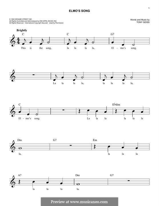 Elmo's Song: Мелодия by Tony Geiss