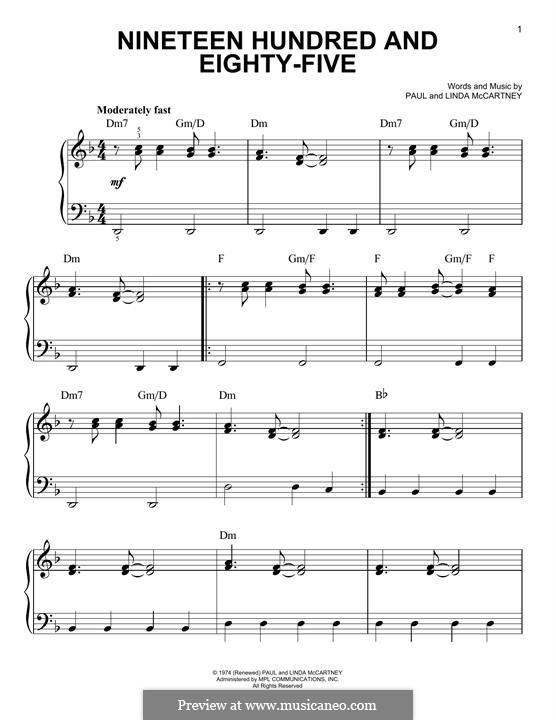 Nineteen Hundred and Eighty-Five: Для фортепиано by Linda McCartney, Paul McCartney