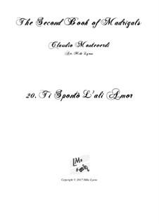 Тетрадь 2 (для пяти голосов), SV 40–59: No.20 Ti spontò l'ali amor. Arrangement for quintet instruments by Клаудио Монтеверди