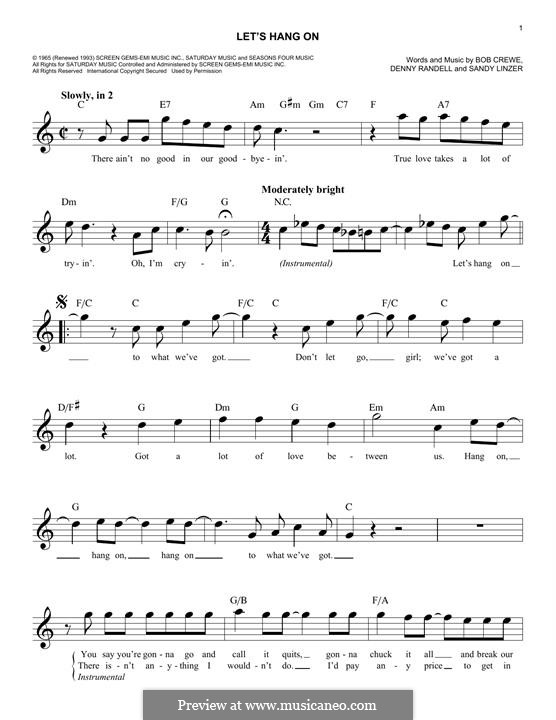 Let's Hang On: Мелодия by Bob Crewe, Denny Randell, Sandy Linzer