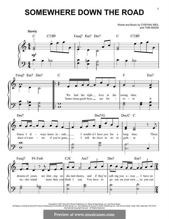 Somewhere Down the Road: Для фортепиано by Cynthia Weil, Tom Snow