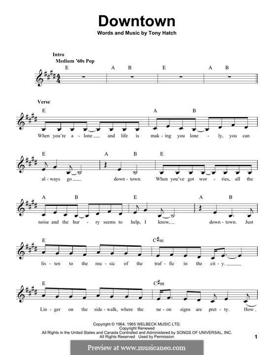 Downtown (Petula Clark): Мелодия by Tony Hatch