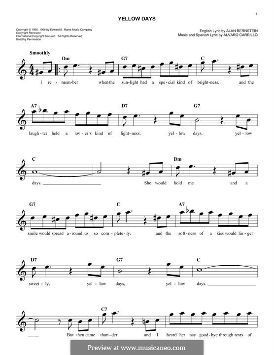 Yellow Days (Frank Sinatra): Мелодия by Alan Bernstein, Alarcon Carrillo