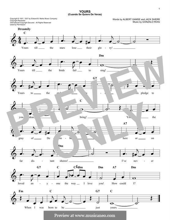 Yours (Cuando Se Quiere de Veras): Мелодия by Gonzalo Roig
