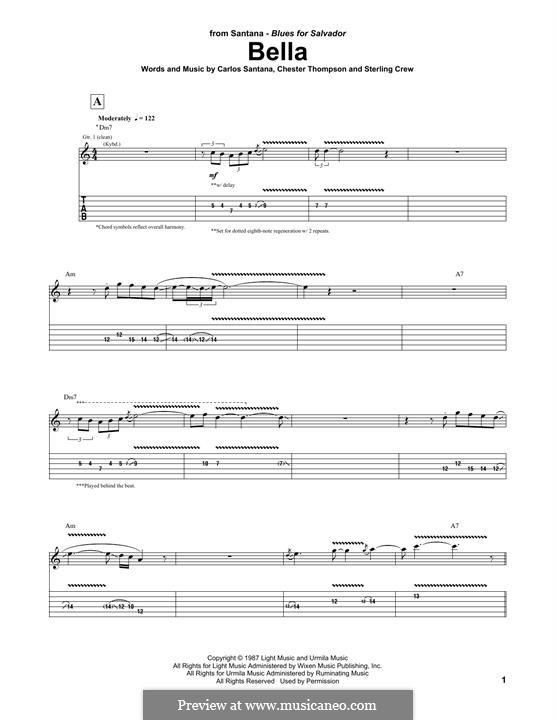 Bella: Гитарная табулатура by Carlos Santana, Chester Thompson, Sterling Crew