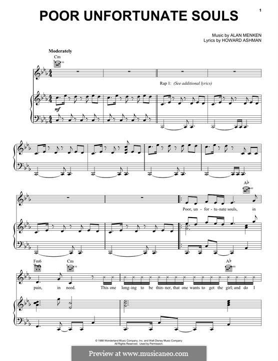 Poor Unfortunate Souls: Для голоса и фортепиано (или гитары) by Alan Menken
